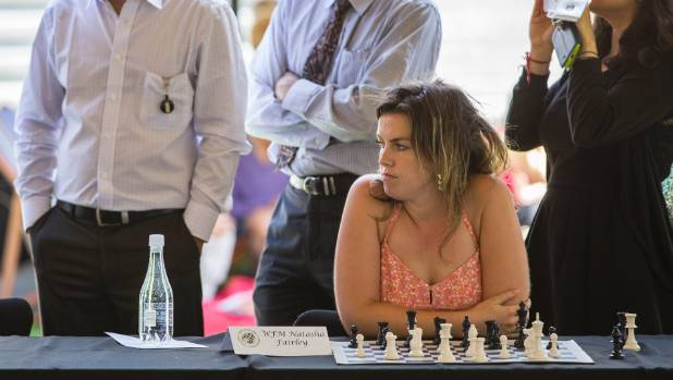 The Bachelor NZ contestant Natasha Fairley waits for chess grandmaster Nigel Short to make his move.
