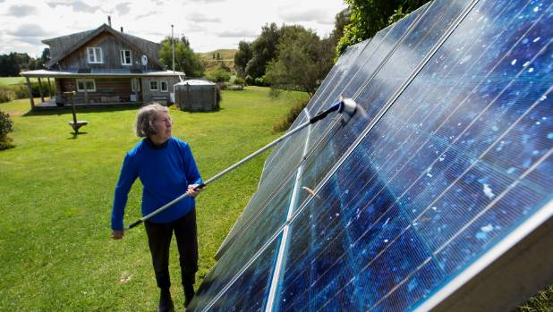 Liz Brook cleans her solar panels every three months.