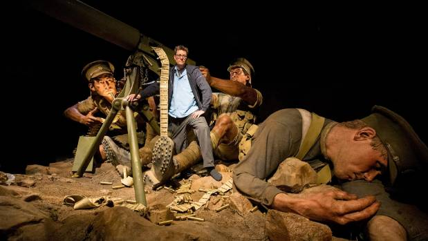 Weta Workshop founder and exhibition creative director Sir Richard Taylor with the larger than life Gallipoli machine ...