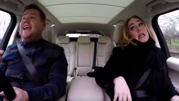 Adele and Corden belt out the hits in Carpool Karaoke.