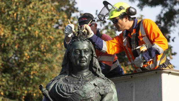 The Queen Victoria statue in Victoria Square getting a little make over in 2014. Is it time to topple her sensibility ...