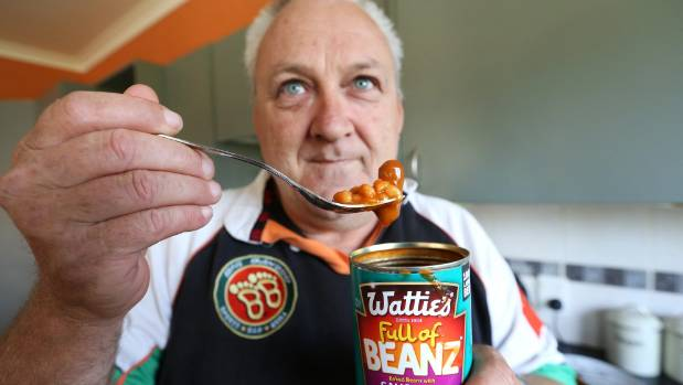 Darryn 'Macca' McKenzie, of Seddon, waited 30 years to eat baked beans with sausages only to be disappointed by the size ...