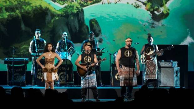 Opetaia Foa'i and members of Te Vaka perform the theme song from Moana at Disney23.