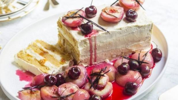 Peach and mascarpone torte with roasted white peaches and cherries.