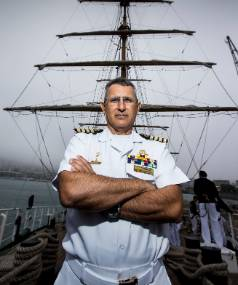 Captain Carlos Zumarraga, of the Ecuadorian tall ship the Guayas, which docked at Wellington Queen's Wharf early on ...