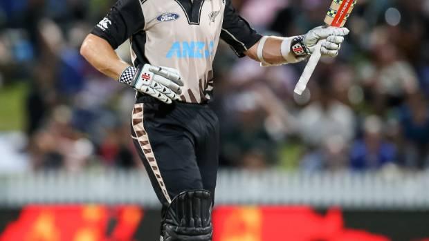 Black Caps T20 captain Kane Williamson celebrates making 50 in the second match against Pakistan, at Seddon Park.