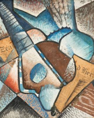 Melvin Day, Cubist still life with Mandolin 1951, oil on board, 650 x 620mm. Auckland Art Gallery Toi o Tamaki, gift of ...