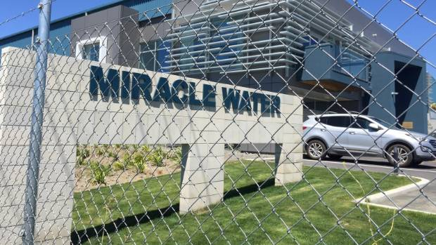 Miracle Water in Hastings, takes water from the Heretaunga Plains aquifer and exports it to Asia in large plastic bladders.