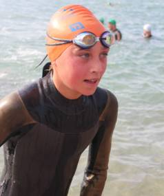 Isabella Thurlow finished fifth in the short swim in Thursday night's Port Nelson Swim Series.