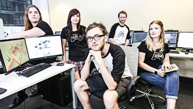 "Games development team ""It's Fine"" at the Media Design school in Auckland (Pictured, left to right) Brianna Fromont, ..."