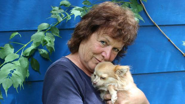Susy Pointon and her chihuahua Thumbelina at home where she does a lot of her writing.