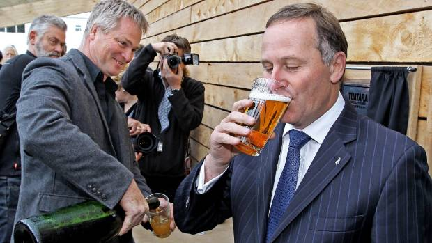 Carl Vasta pours another cold one for Prime Minister John Key during his visit to the Tuatara Brewery in Paraparaumu  in ...