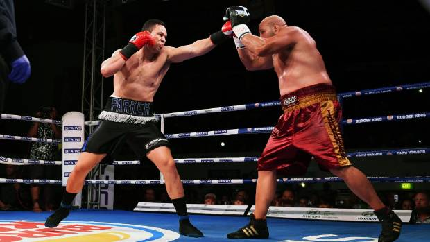 Joseph Parker sets up American Jason Bergman with a left jab during their Rumble in Paradise bout in Apia, Samoa.