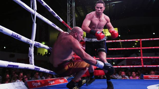 Joseph Parker knocks out American southpaw Jason Bergman during the Rumble in Paradise in Apia, Samoa.