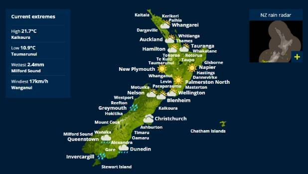 Rain from Southland is set to make its way up the South Island on Monday and Tuesday.