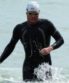 Nelson's Terry Bone finished first in Sunday's Ironman distance swim from Tahunanui Beach.