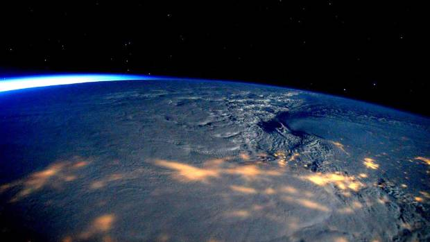 A storm affecting the US can be seen in this photo, but there's no sign of space junk.
