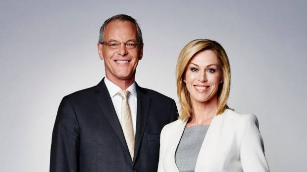 ONE News' Simon Dallow has eight years on co-host Wendy Petrie.