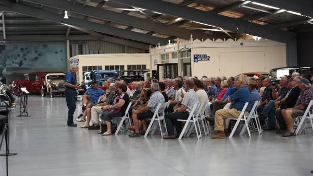 Corky Coker talks at Warbirds & Wheels in Wanaka.