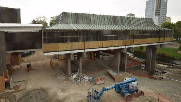 This time lapse photo, taken on January 25, shows how work on Christchurch's quake-damaged Town Hall is progressing.