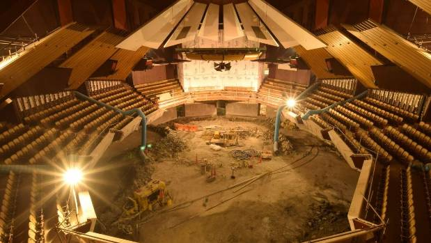 A time lapse photo taken on January 25 shows the changes occurring inside the Town Hall's main auditorium.