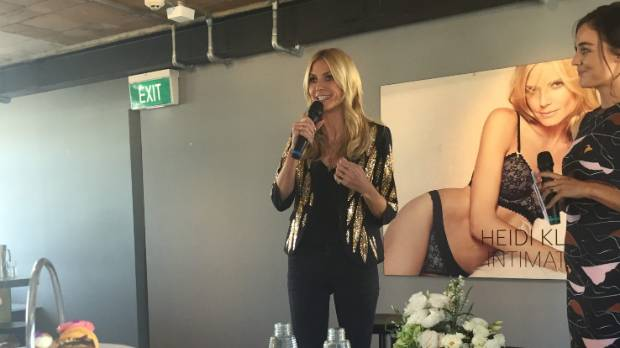 Heidi Klum addresses the crowd gathered for her high tea in Auckland.