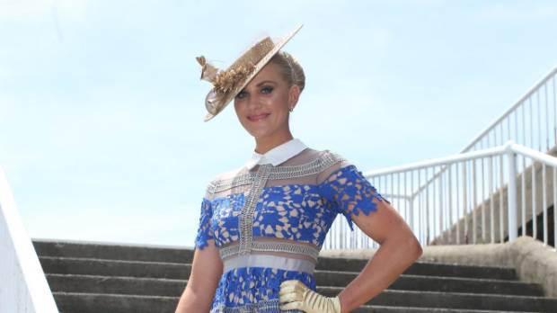 Katie wore a 'self portrait'-style dress from a second-hand racewear online retailer and a hat by Monika Neuhauser ...