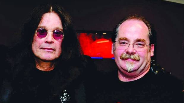 Ozzy Osbourne, left, with Wellington concert promoter Phil Sprey.