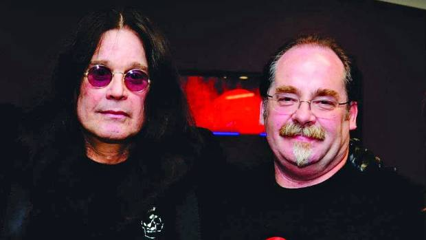 Ozzy Osbourne, left, with Wellington concert promoter Phil Sprey, who has long called for an indoor arena in the city.