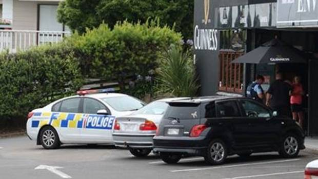 People were advised to stay clear of the pub as police begun a hunt for one offender.