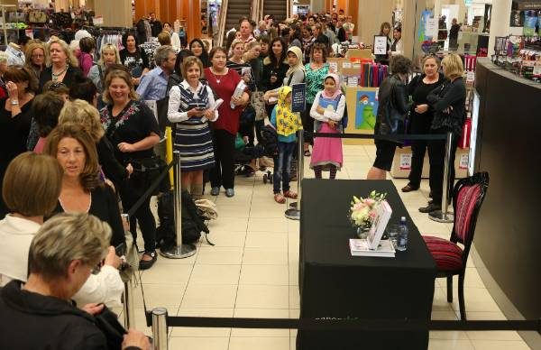 A large crowd waits for celebrity chef Nigella Lawson to arrive at Paper Plus Invercargill on Tuesday.
