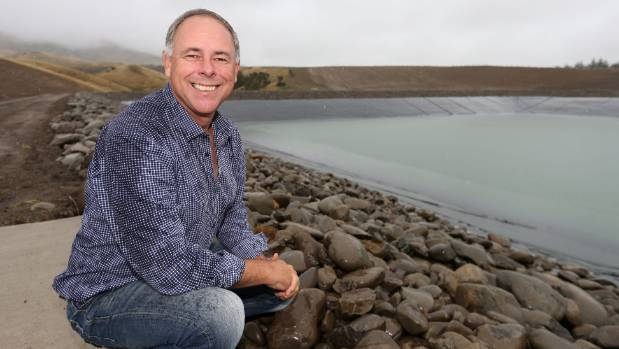 Marisco Vineyards owner Brent Marris in front of the new 320 million-litre dam, constructed at Leefield Station in the ...