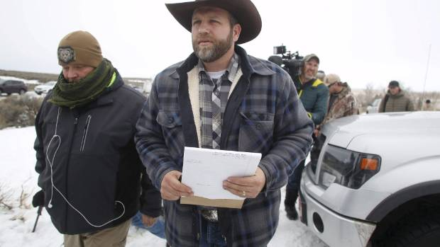 Ammon Bundy address the media at the Malheur National Wildlife Refuge, Oregon, on January 5.