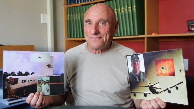 Daniel Ubertini with his 2009 UFO shot taken in Tonga (left), and his 1977 shot taken in Reunion Island.