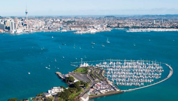 An aerial view of Bayswater Marina in North Shore, Auckland.