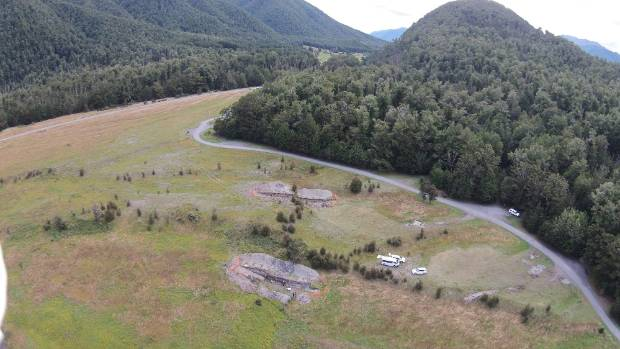 The two trenches dug across the Alpine Fault where geologists are studying previous earthquakes.
