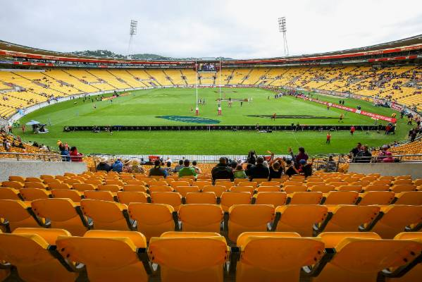 Westpac Stadium gets ready for the 2016 Wellington Sevens.