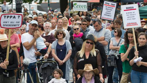Anti-TPPA protesters gather in Cathedral Square, Christchurch, on Saturday.