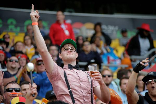 The crowd enjoy the atmosphere of the 2016 Wellington Sevens.