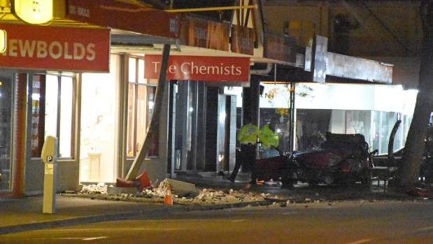 The aftermath of a crash in the Masterton CBD.