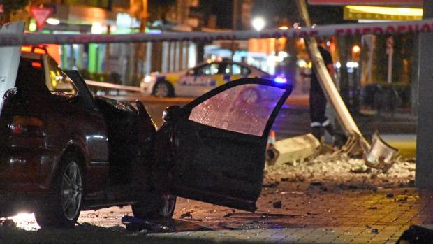 The aftermath of a crash in the Masterton CBD on Sunday morning in which two people died.