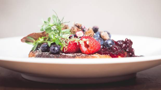Sourdough pancake with caramelised pear, berries, and candied walnuts, from Matterhorn's new brunch menu.