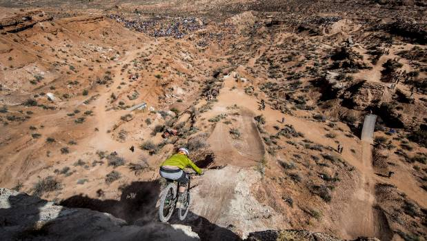 Kelly McGarry competes during finals of the Red Bull Rampage freeride event in Utah.