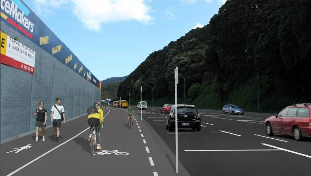 An artist impression of the proposed new cycleway and transit lane that will run along Hutt Rd in Wellington.