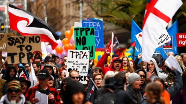 Anti-TPPA protesters are expected to flood into Auckland's central city ahead of the signing of the agreement today.