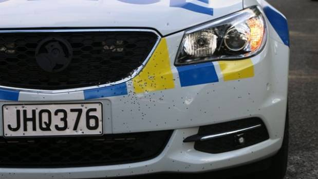 Damage to the police car which was shot during a chase in Manurewa.