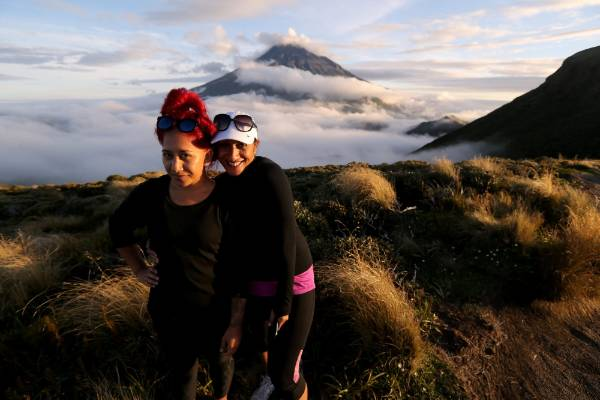 Jenna O'Brien and Ema Jensen won a guided tour of the crossing through a  Venture Taranaki competition on Facebook.