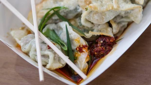 Pot Sticker Dumpling Bar is serving their classic fried dumplings.