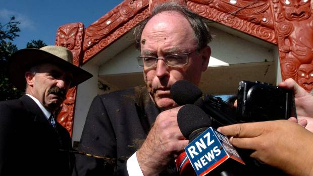 A history of conflict at Waitangi - then National leader Don Brash is targeted by protesters in 2004.