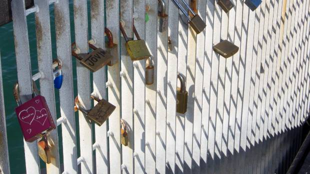 Love locks on Wellington's waterfront.
